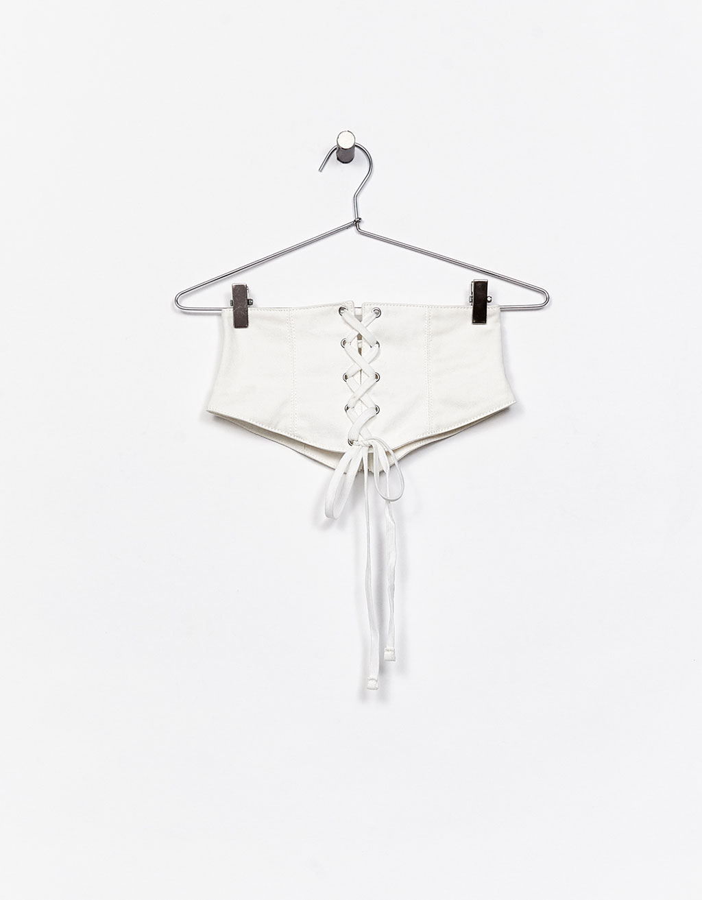 white Corset belt by Bershka