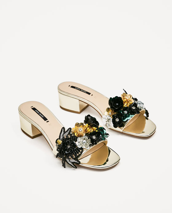 zara embroided flat sandals