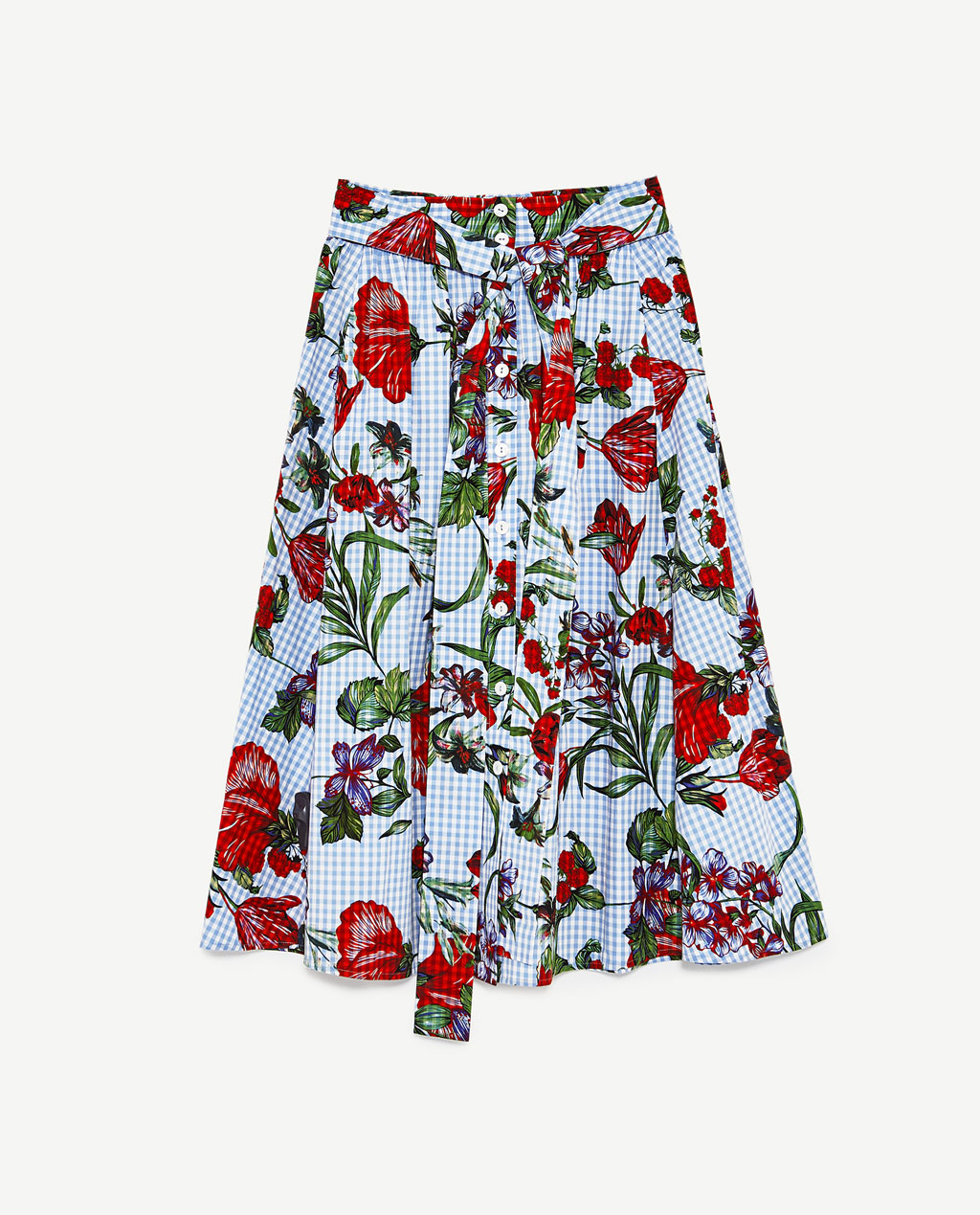 zara floral gingham skirt