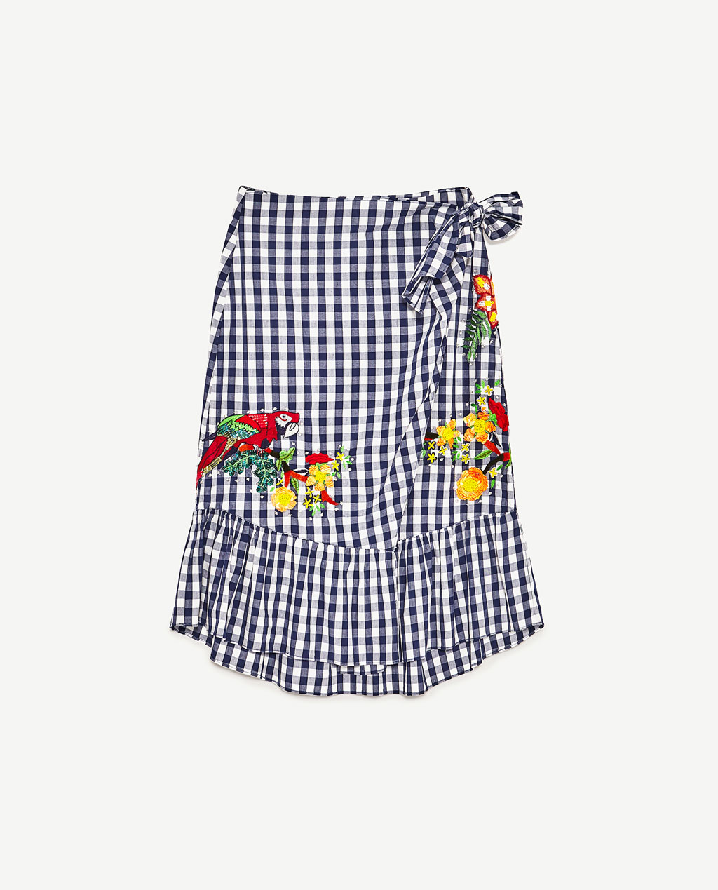 zara gingham embroided skirt