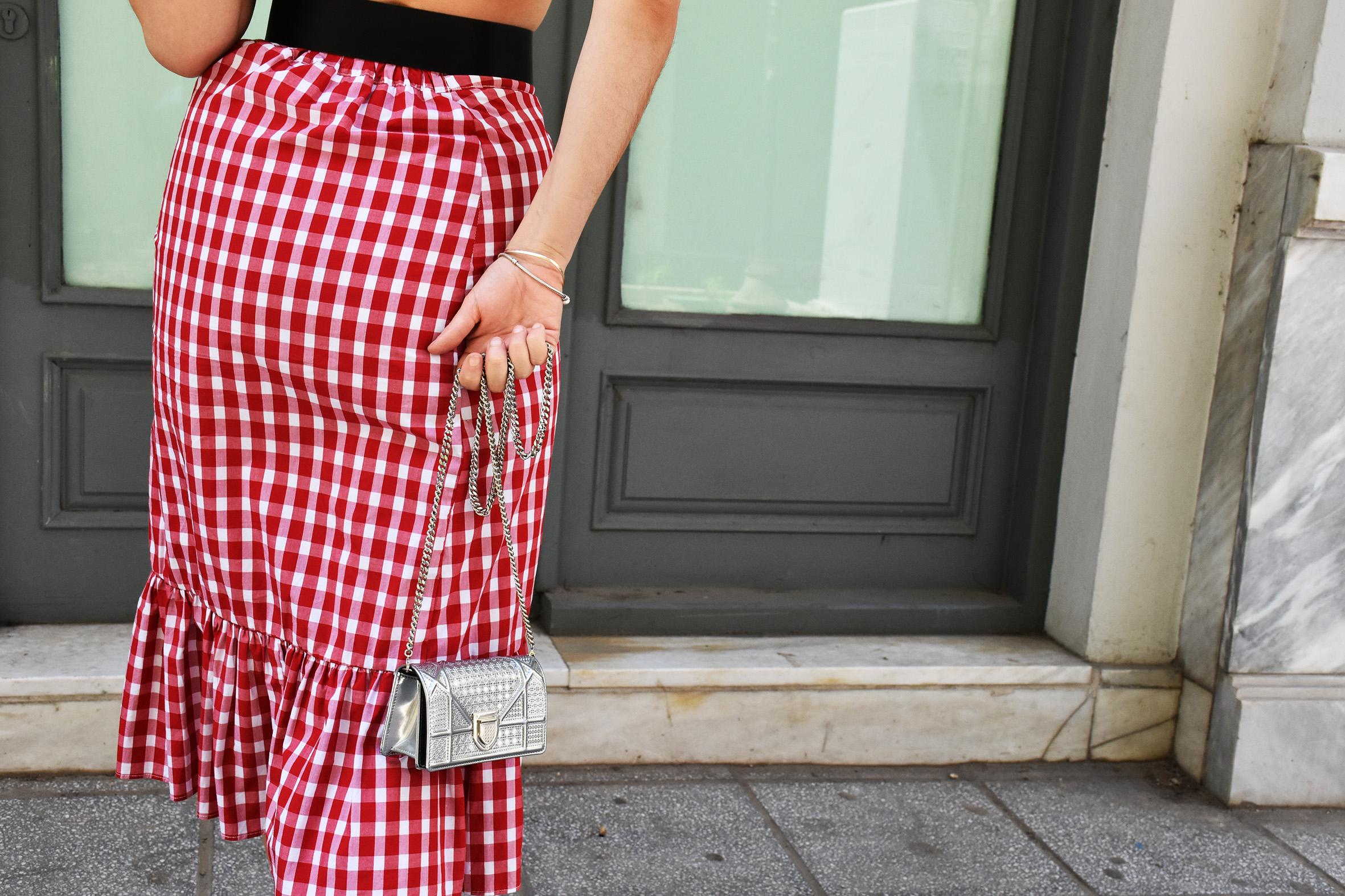 zara red tartan skirt