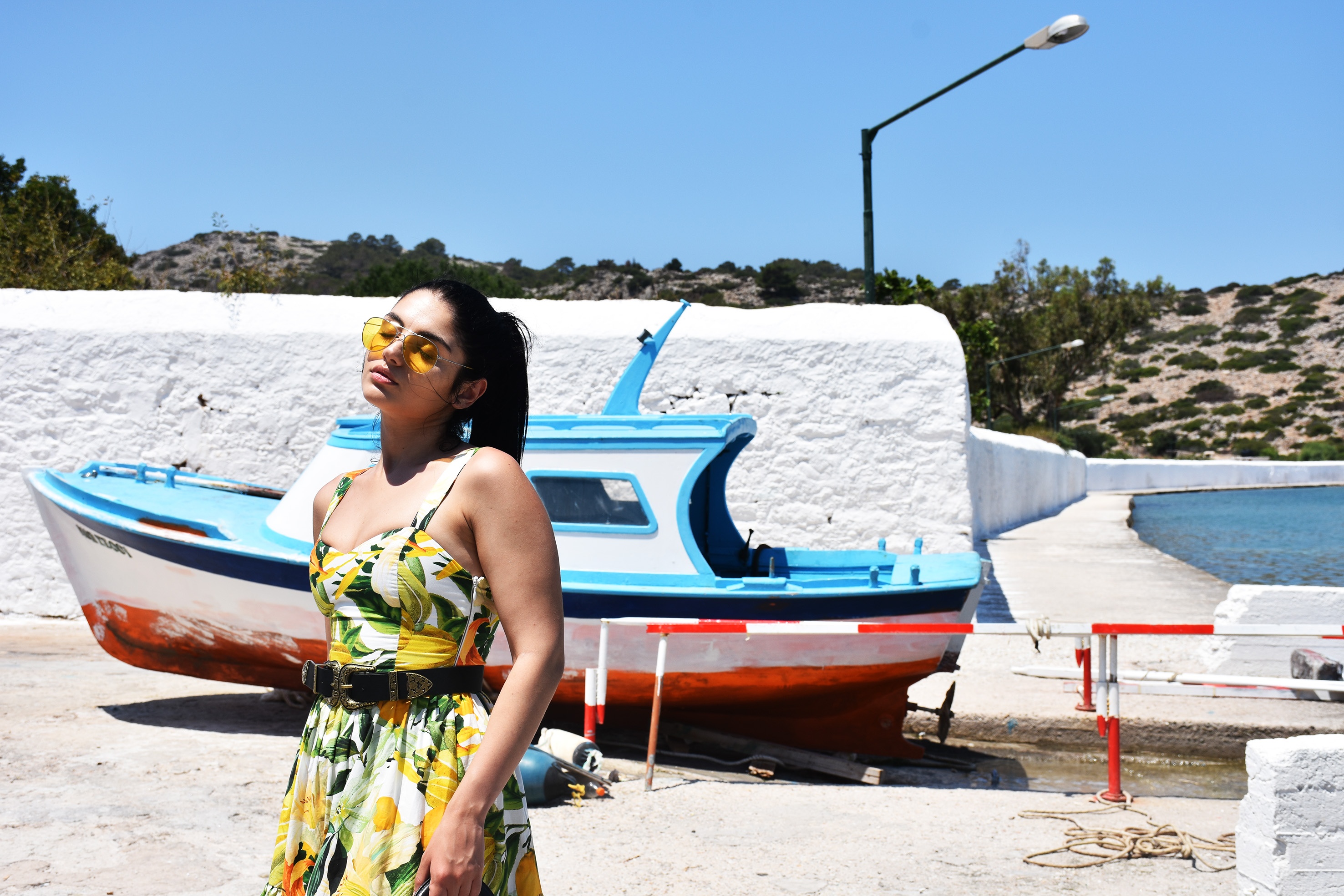A fashion blogger in Panorimitis monastery in Simi Greece