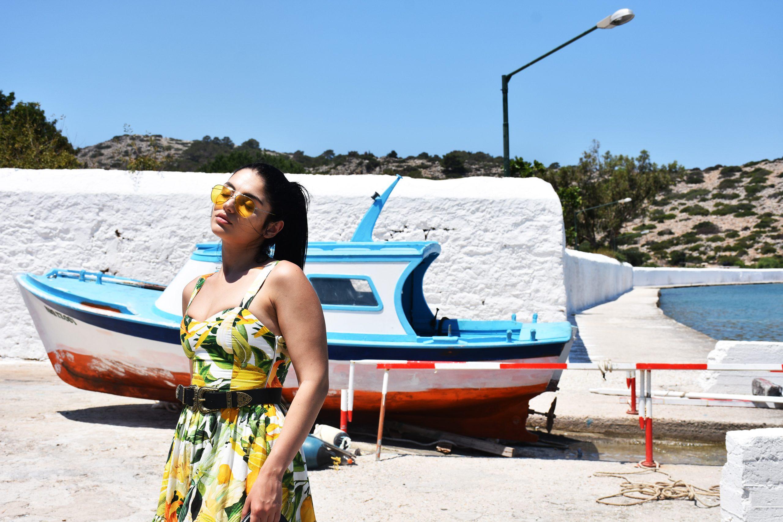 A fashion blogger in Panorimitis monastery in Simi Greece