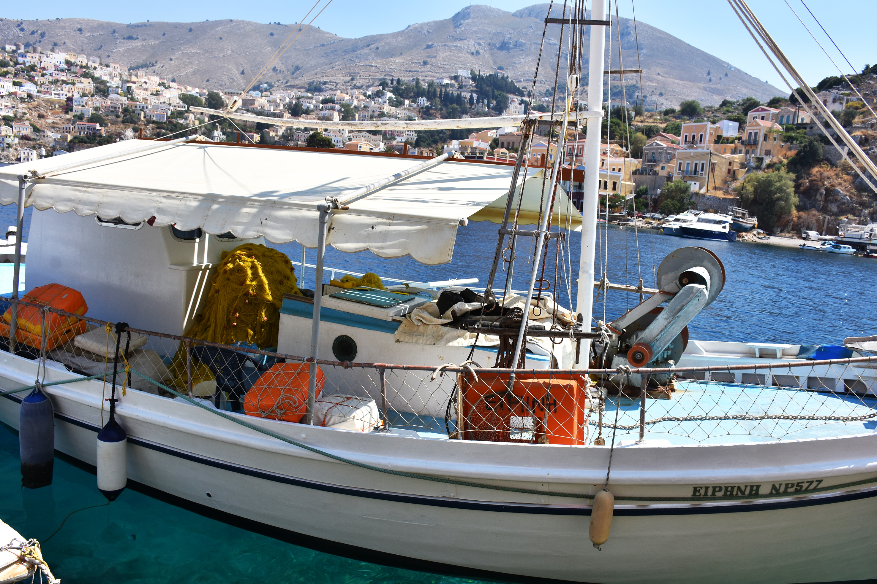 A fish boat in Simi's port in Greece