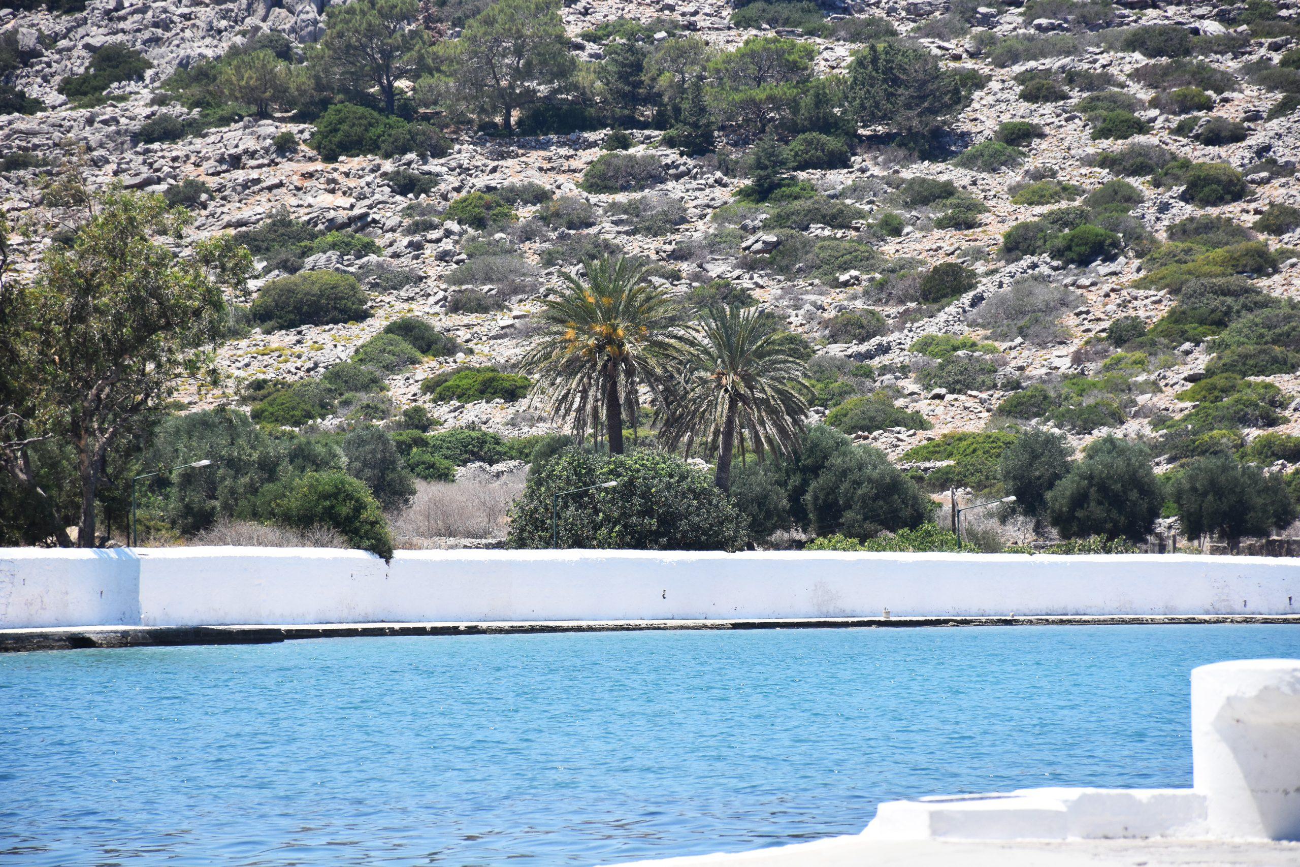 port of Panomirtis monastery in Simi Greece