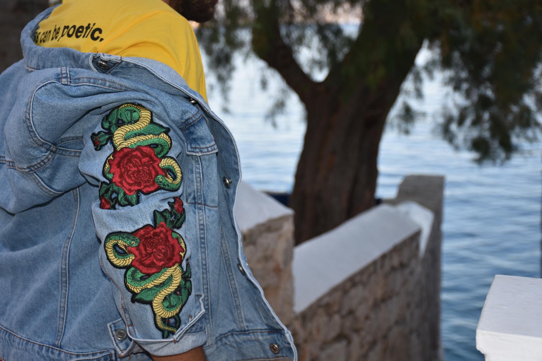 flower patch denim jacket for men
