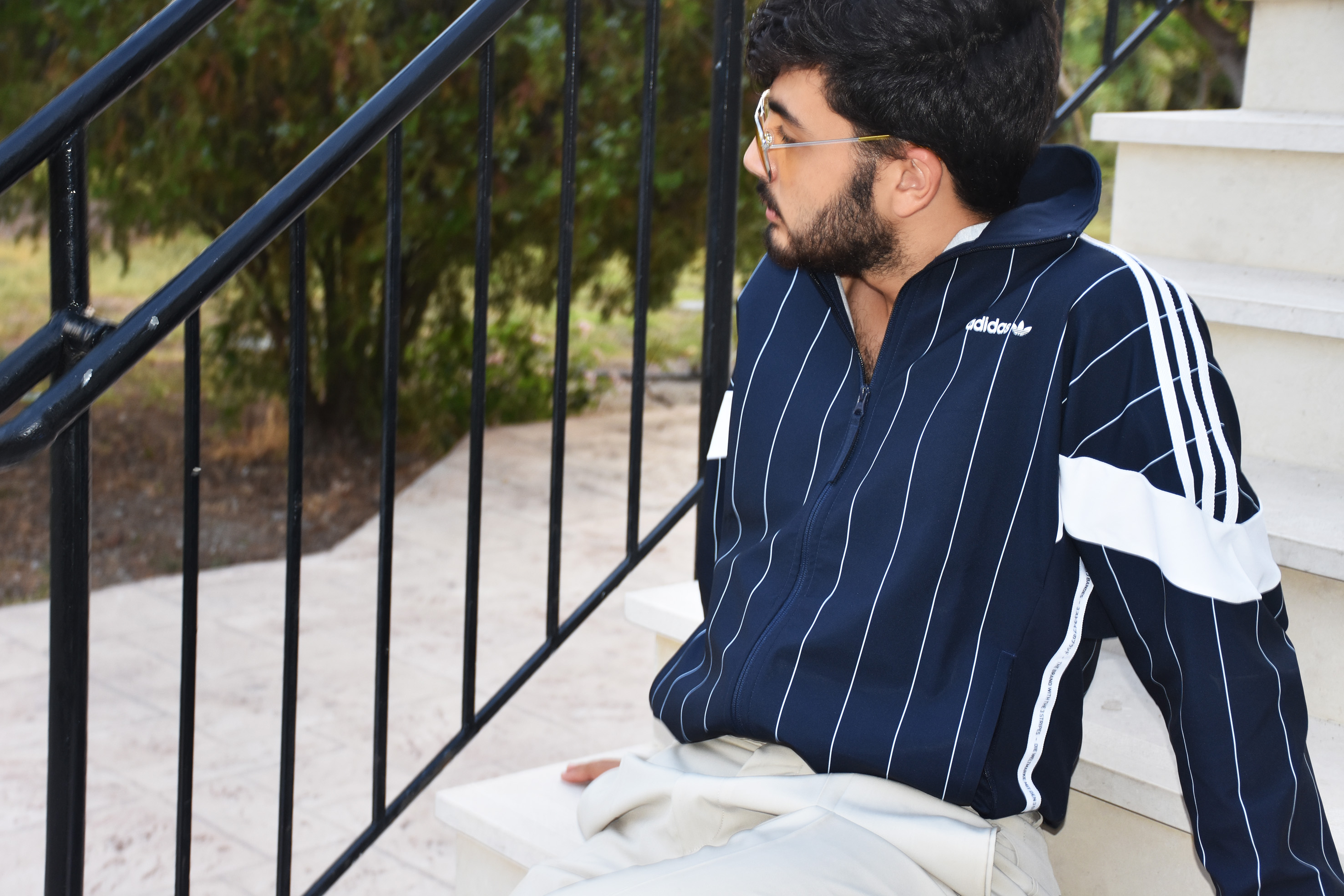 adidas stripes jacket for men outfit