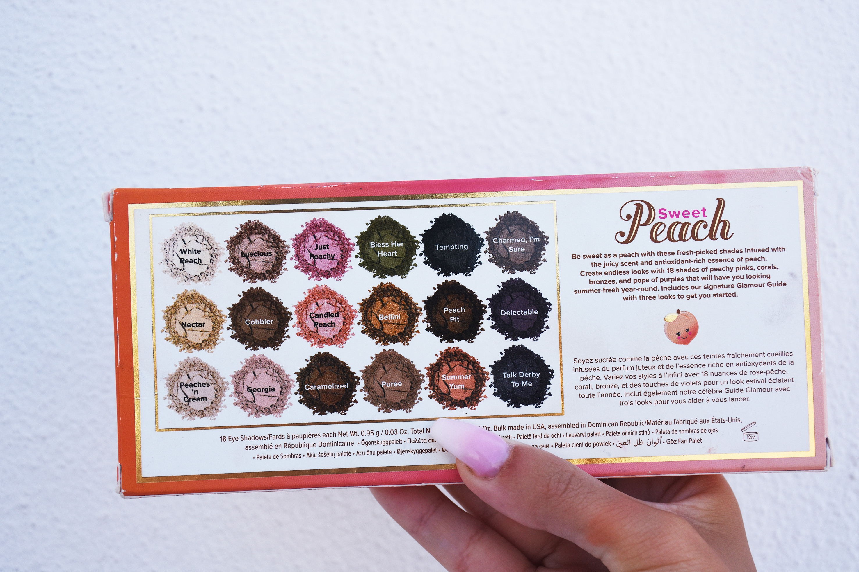 too faced sweet peach palette all colors
