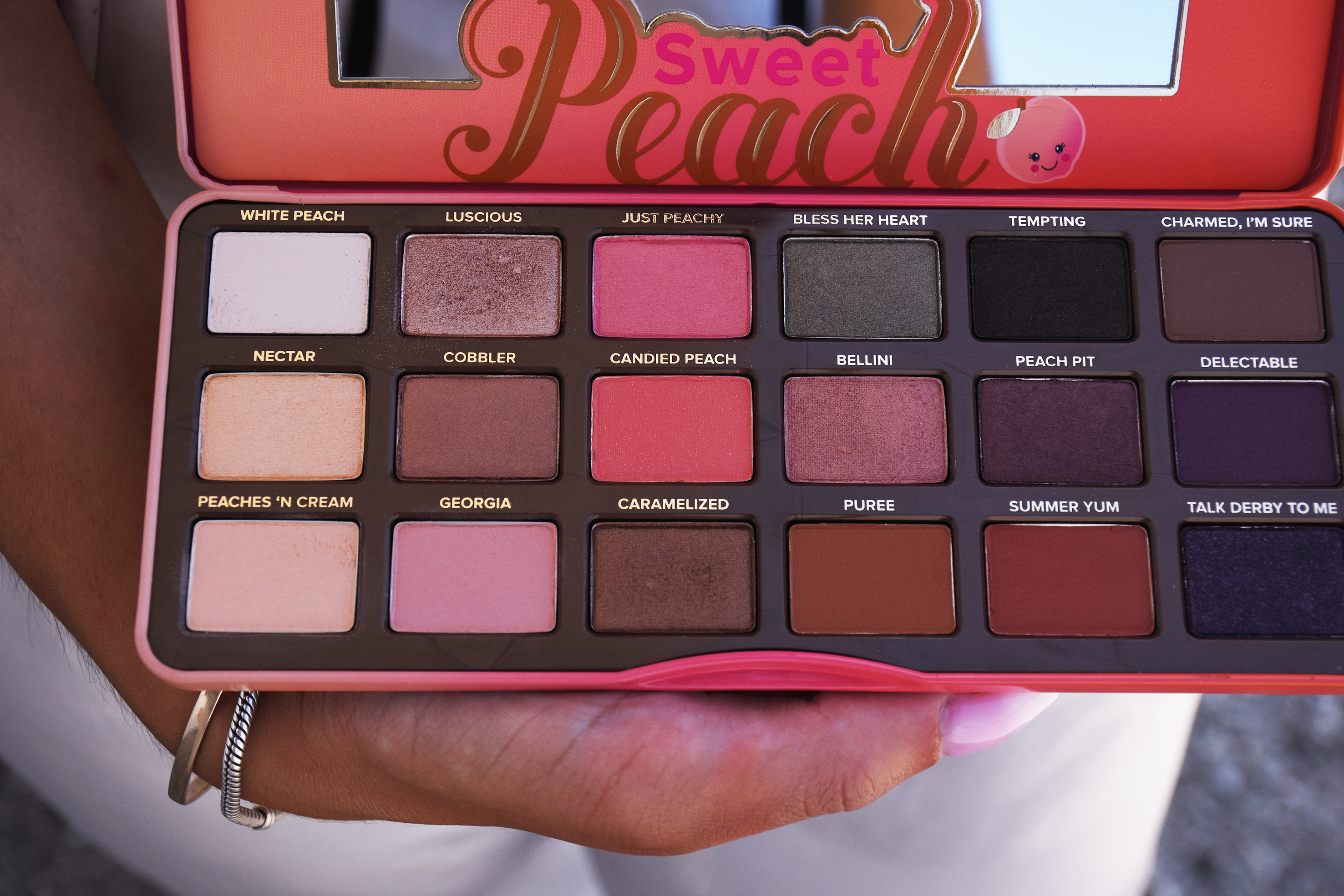review-too faced sweet peach palette all colors