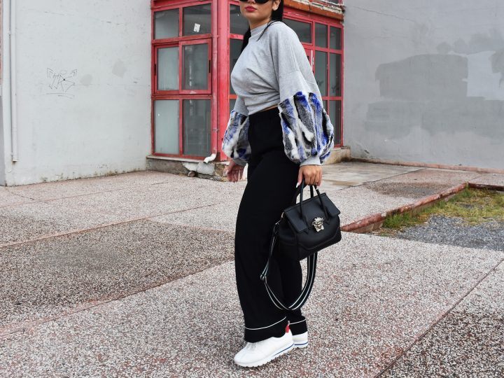 STYLE YOUR WHITE SNEAKERS WITH BOLD SLEEVES AND ADD VOLUME