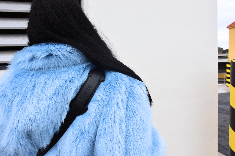 H&M BLUE FUR STYLING